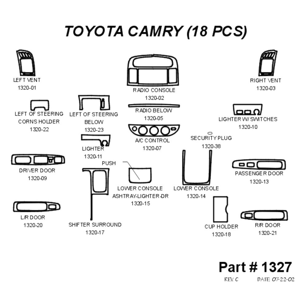 For Toyota Camry 2002-2004 Sherwood 2D-1327-IT 2D White
