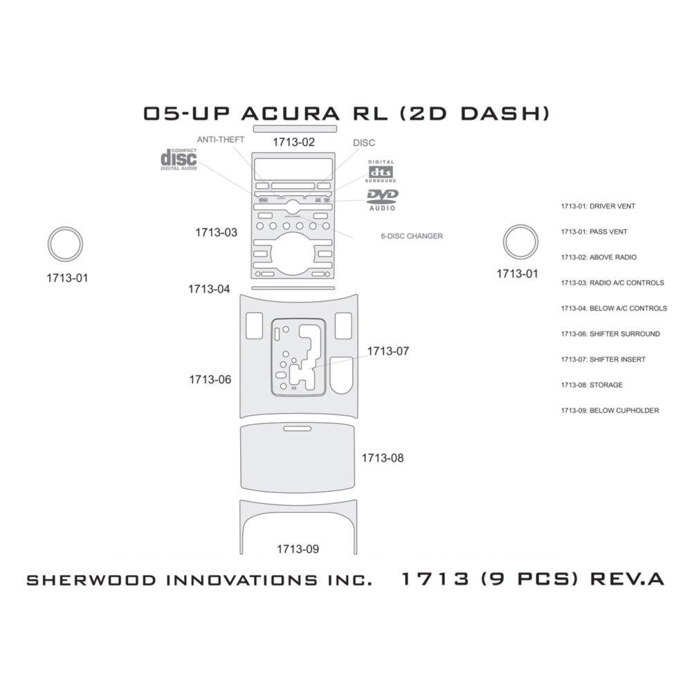 For Acura RL 05-08 Sherwood 2D Real Black Carbon Fiber