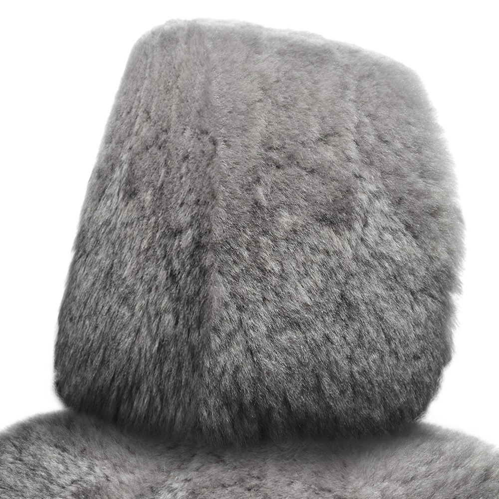hight resolution of superlamb tailor made sheepskin steel gray headrest covers