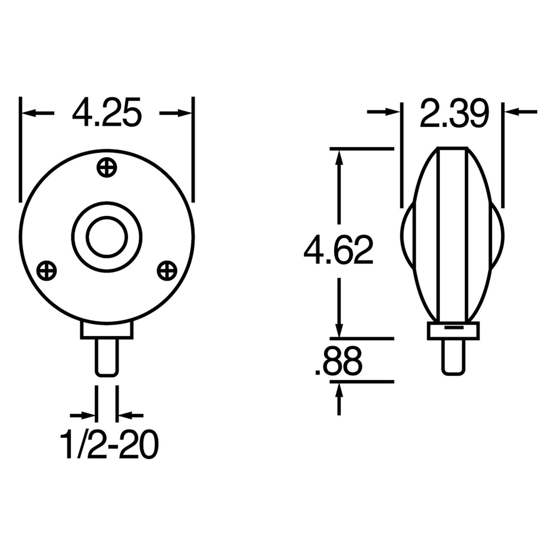 Truck-Lite 3802 Round Signal-Stat Dual Face Pedestal Light