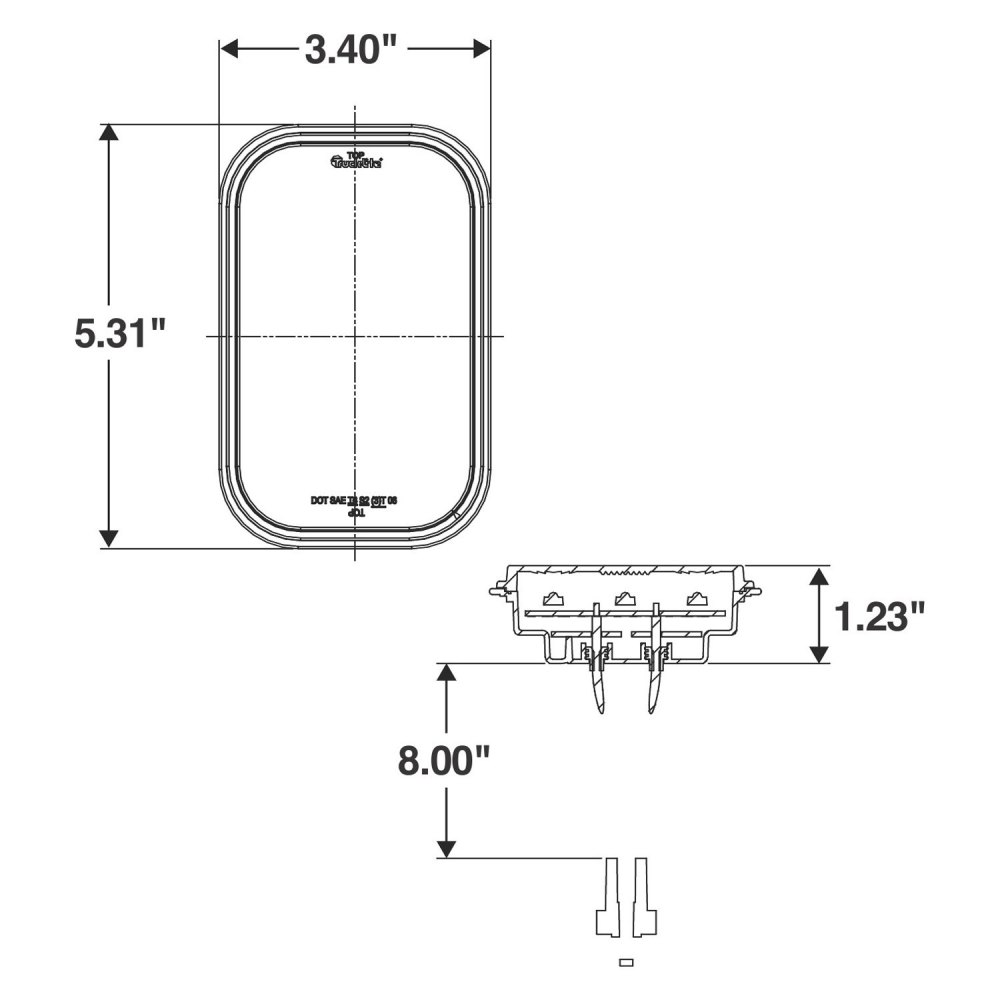 medium resolution of  lighttruck lite 45 series 3 x5 rectangular grommet mount led tail light