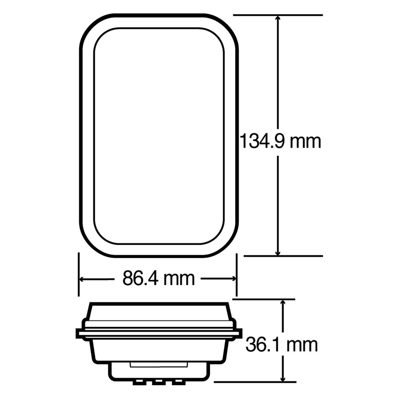 hight resolution of  lighttruck lite 45 series 135x86mm rectangular led rear fog light