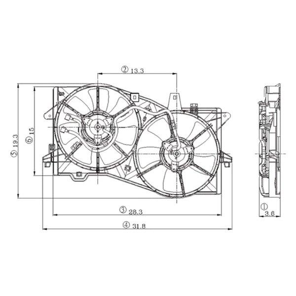 For Mazda MPV 2002-2006 TYC Dual Radiator & Condenser Fan