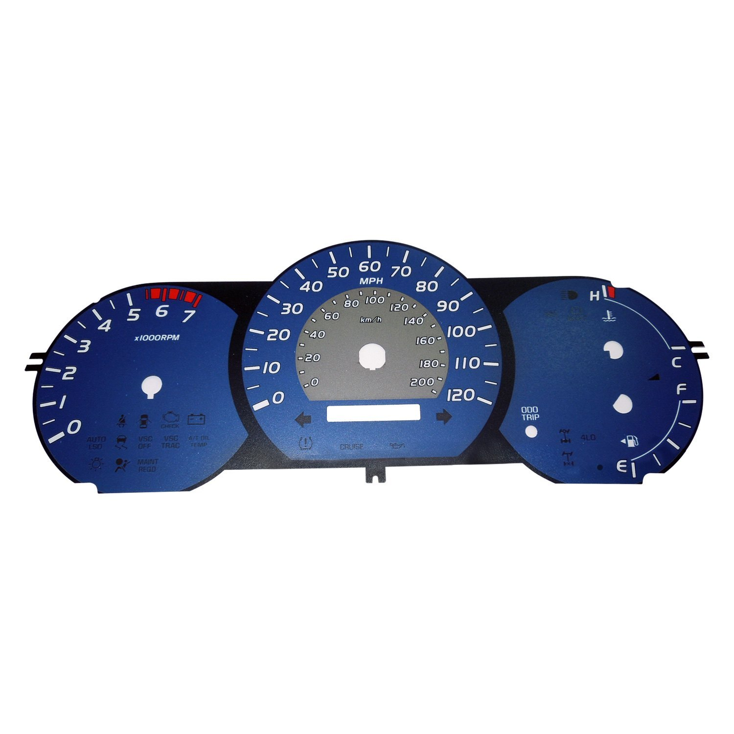 hight resolution of us speedo tac074 daytona edition gauge face kit with amber night lettering color blue