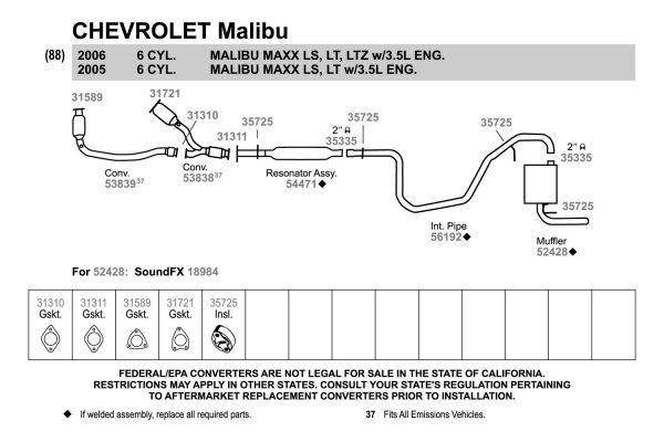 2005 Chevy Impala Exhaust System Diagram