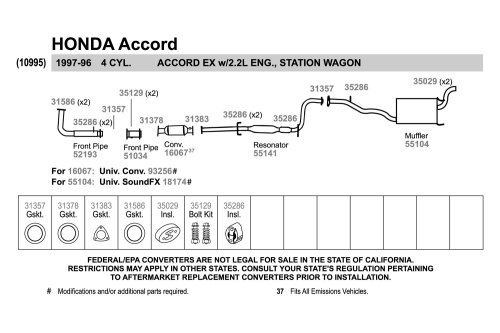 small resolution of walker honda accord 1996 replacement exhaust kit honda accord parts diagram moreover 2003 honda accord exhaust system