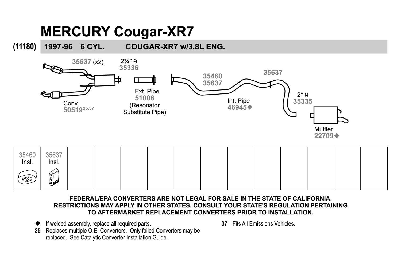 hight resolution of walker 35637 rubber black exhaust insulator 1997 ford thunderbird exhaust diagram
