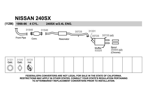 small resolution of walker nissan 240sx 1997 replacement exhaust kit 240sx exhaust diagram