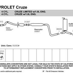 walker chevy cruze 2011 replacement exhaust kit exhaust diagram walker [ 1500 x 1000 Pixel ]