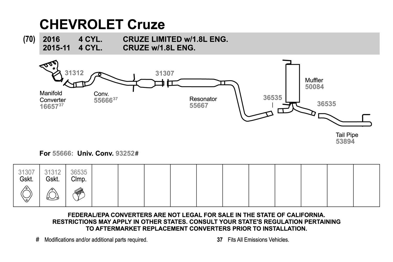 hight resolution of walker chevy cruze 2011 replacement exhaust kit exhaust diagram walker