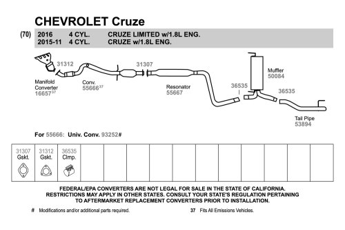 small resolution of walker chevy cruze 2011 replacement exhaust kit exhaust diagram walker