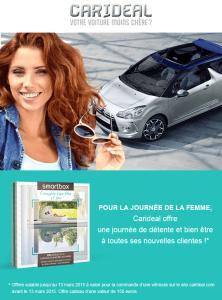 Carideal offre une Thalasso aux femmes qui commande une voiture du 07 au 13 mars 2015.