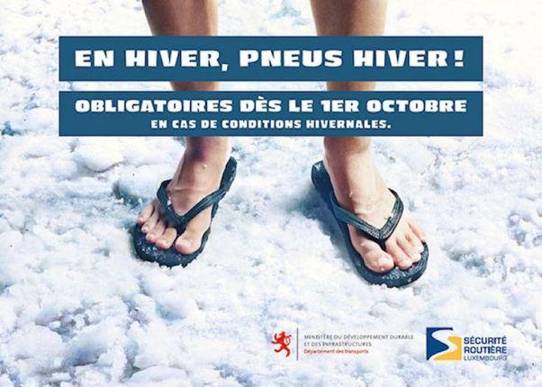 Pneu hiver obligatoire : la publicité de la sécurité routière luxembourgeoise