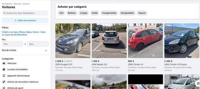 La Marketplace de Facebook est un site pour acheter une voiture d'occasion