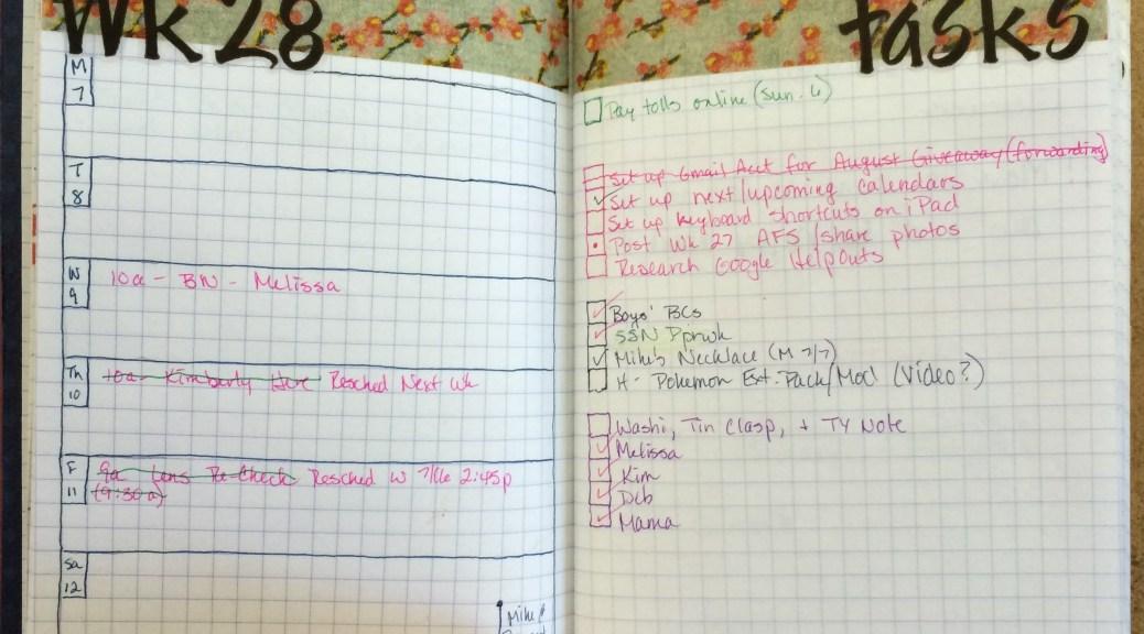 Week 28 Calendar & Tasks After Shot #onebookjuly2014