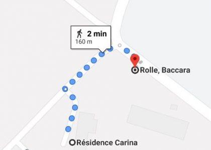 Trajet à pied entre la Résidence Carina et l'arrêt de bus le plus proche (Rolle Baccara)