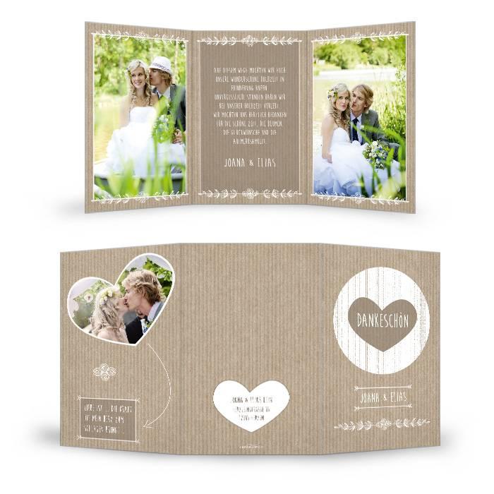 Danksagung zur Hochzeit im Packpapierlook in Braun mit