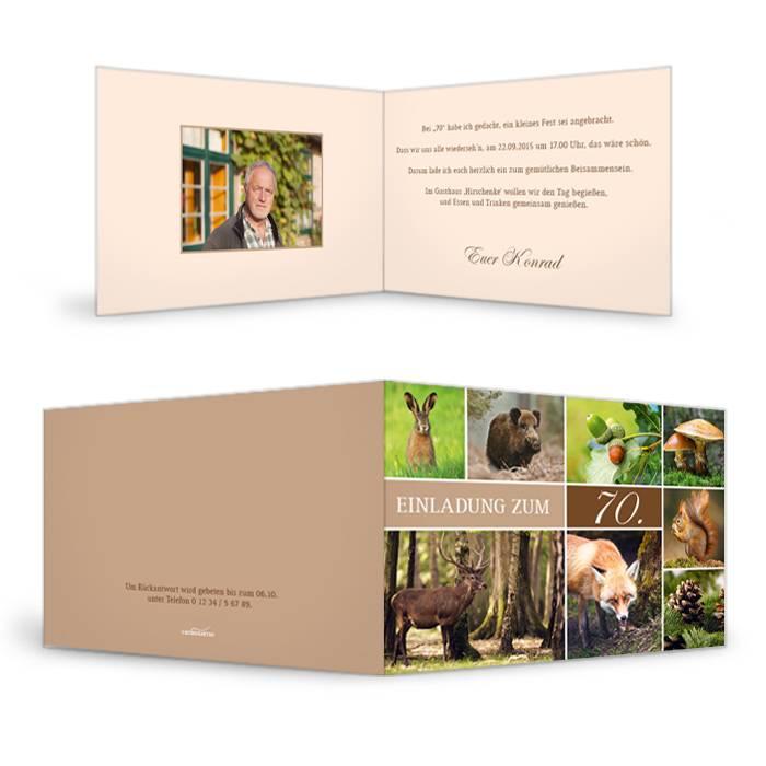 Einladungskarte zum Geburtstag im Jagdstil mit vielen