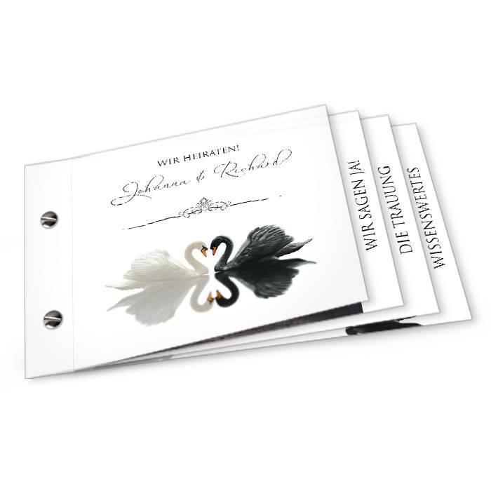 Elegante Hochzeitseinladung mit Schwnen als Booklet