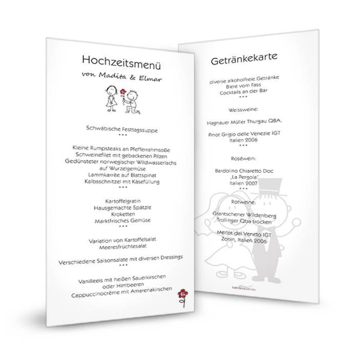 Menkarte zur Hochzeit mit Comic Brautpaar im modernen