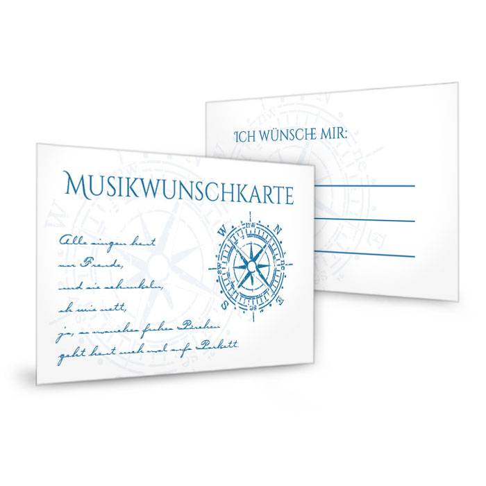 Musikwunschkarten zur maritimen Hochzeit mit Kompass in
