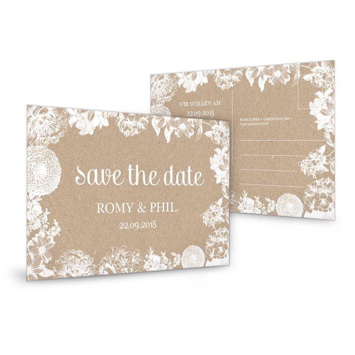 Save the Date Karte zur Hochzeit im Kraftpapierstil mit