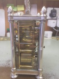 Fusee carriage clock side view