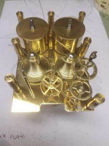 Fusee carriage clock without front plate