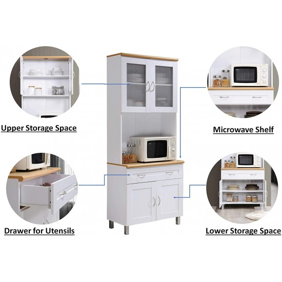 1 drawer large open space for microwave in white tall standing kitchen cabinet with top and bottom enclosed cabinet hodedah hikf92 white