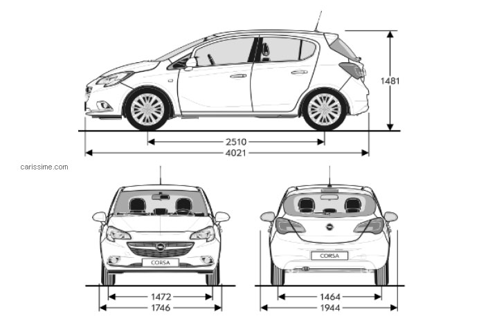 Dimension Opel Corsa. dimensions of opel vauxhall cars