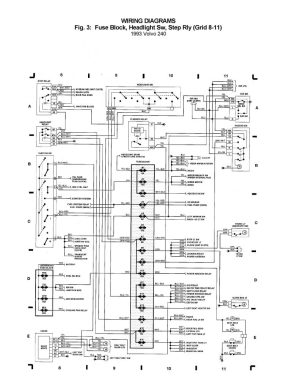 Volvo 240 (1993)  wiring diagrams  Fuse block, Headlight Sw, Step rly (grid 8  11)  CARKNOWLEDGE