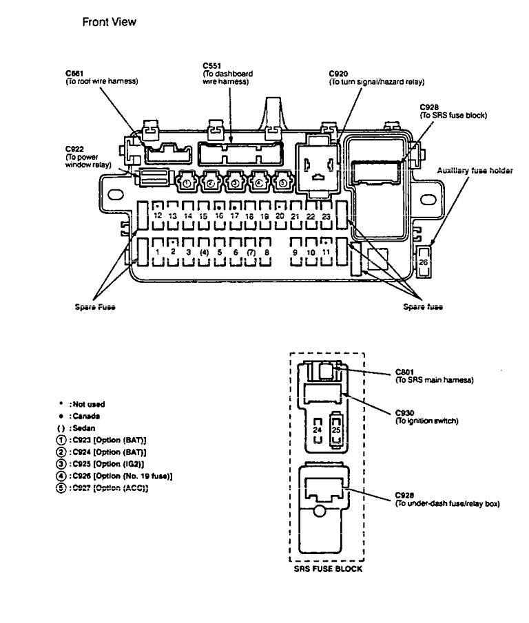 honda integra fuse box diagram