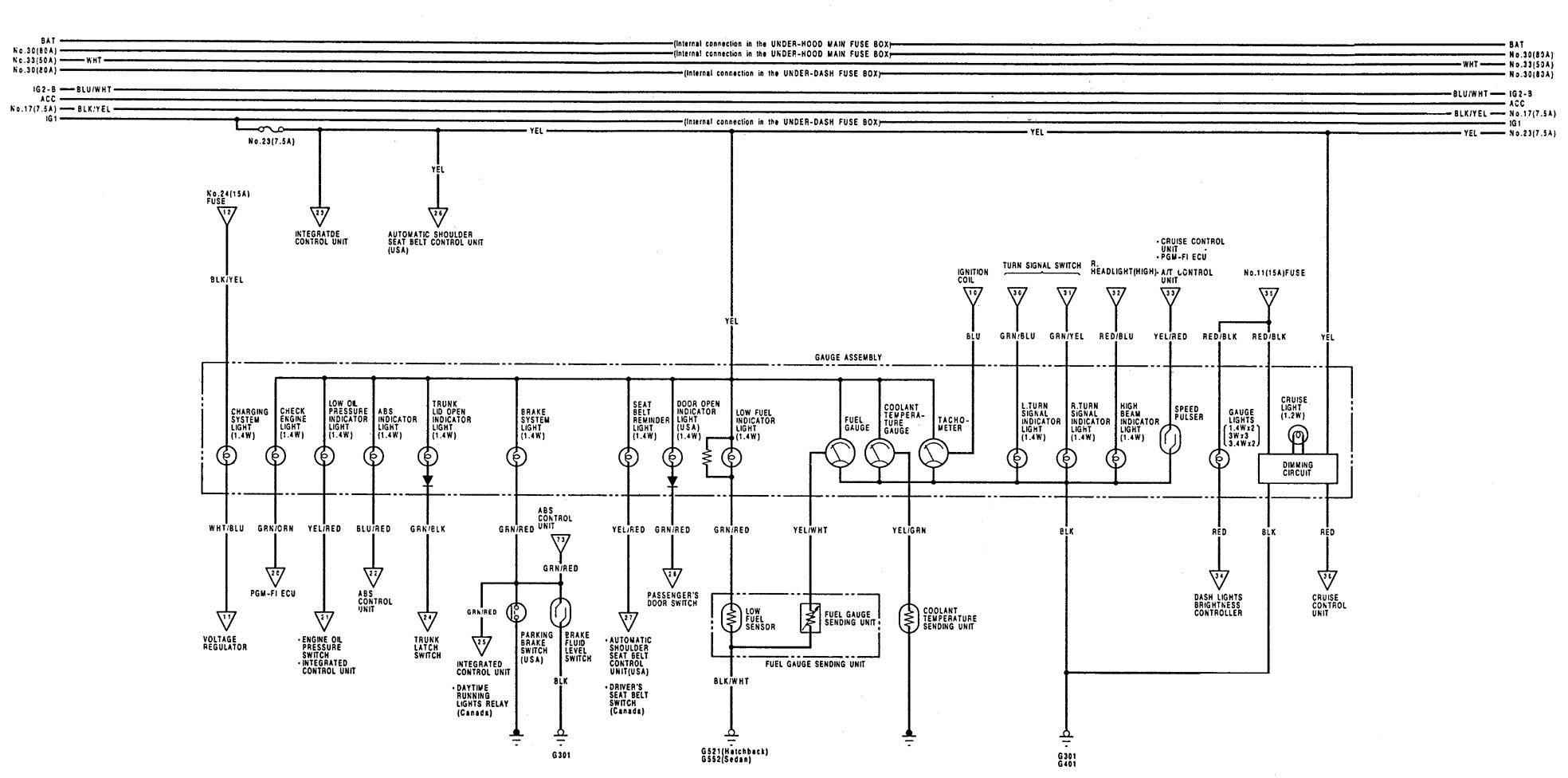 hight resolution of acura integra 1992 1993 wiring diagrams instrumentation rh carknowledge info 1992 acura integra headlight wiring diagram
