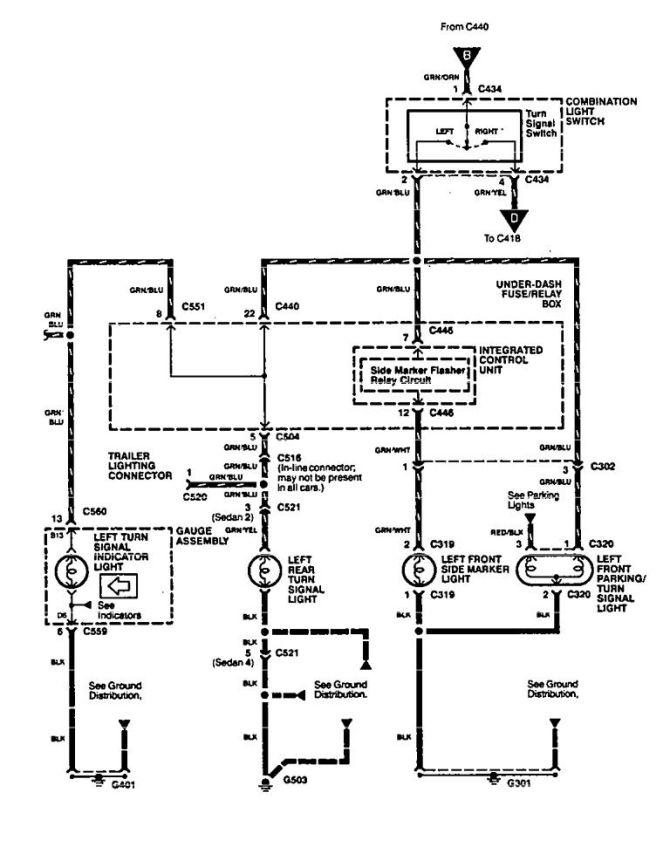 acura integra 1994  wiring diagrams  turn signal lamp
