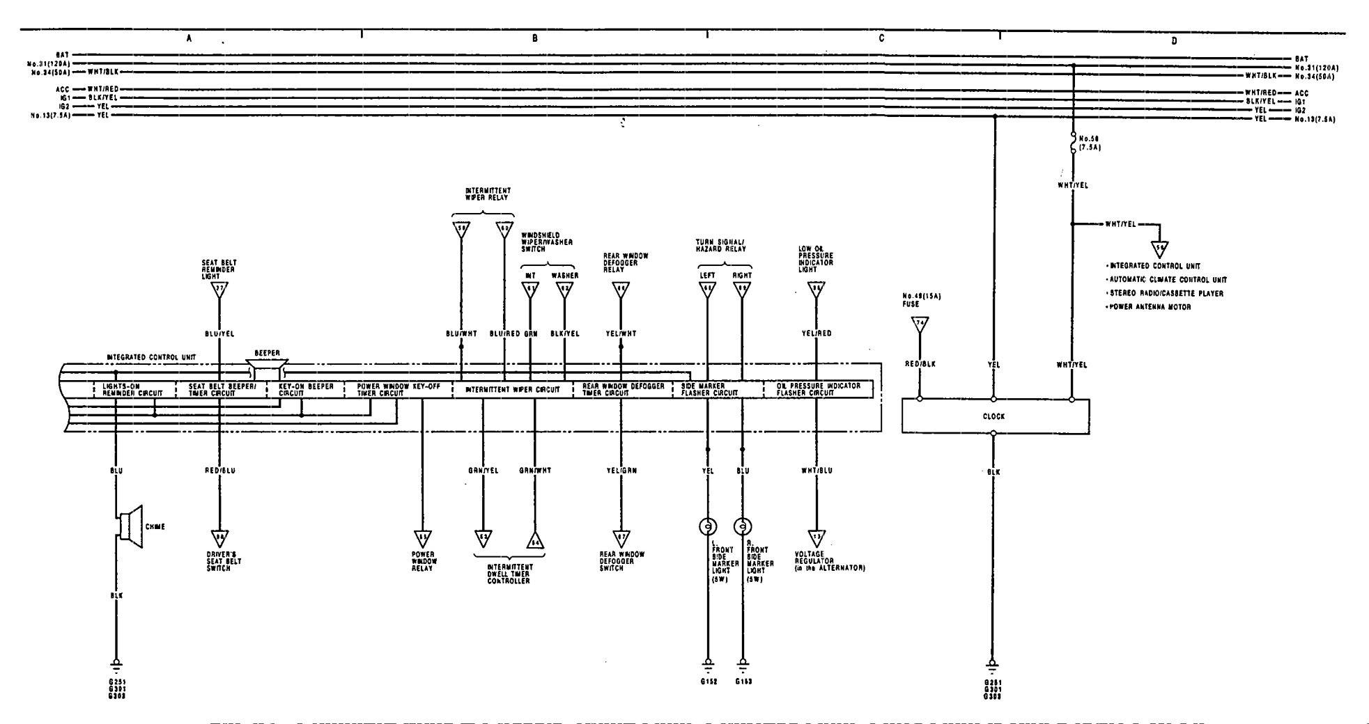 acura legend 1991 - 1992 - wiring diagram - courtesy lamp