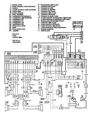 Volvo 740 (1991)  wiring diagrams  audio  CARKNOWLEDGE
