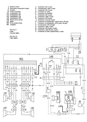 Volvo 740 (1989  1990)  wiring diagrams  audio  CARKNOWLEDGE