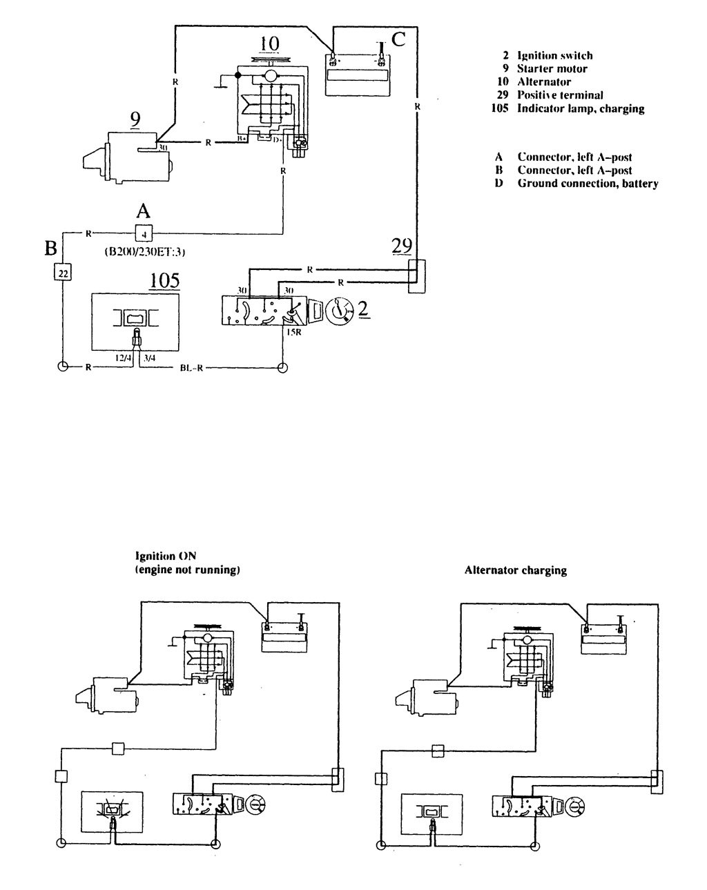 car charging system wiring diagram ademco vista 10p volvo 740 1989 1990 diagrams