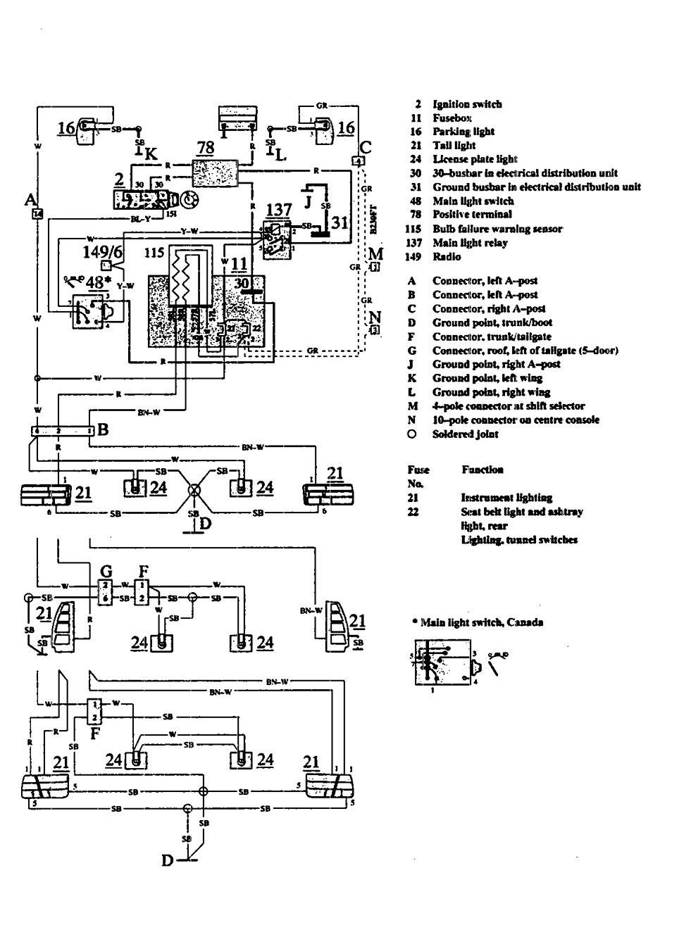 hight resolution of volvo 740 wiring diagram parking lamp