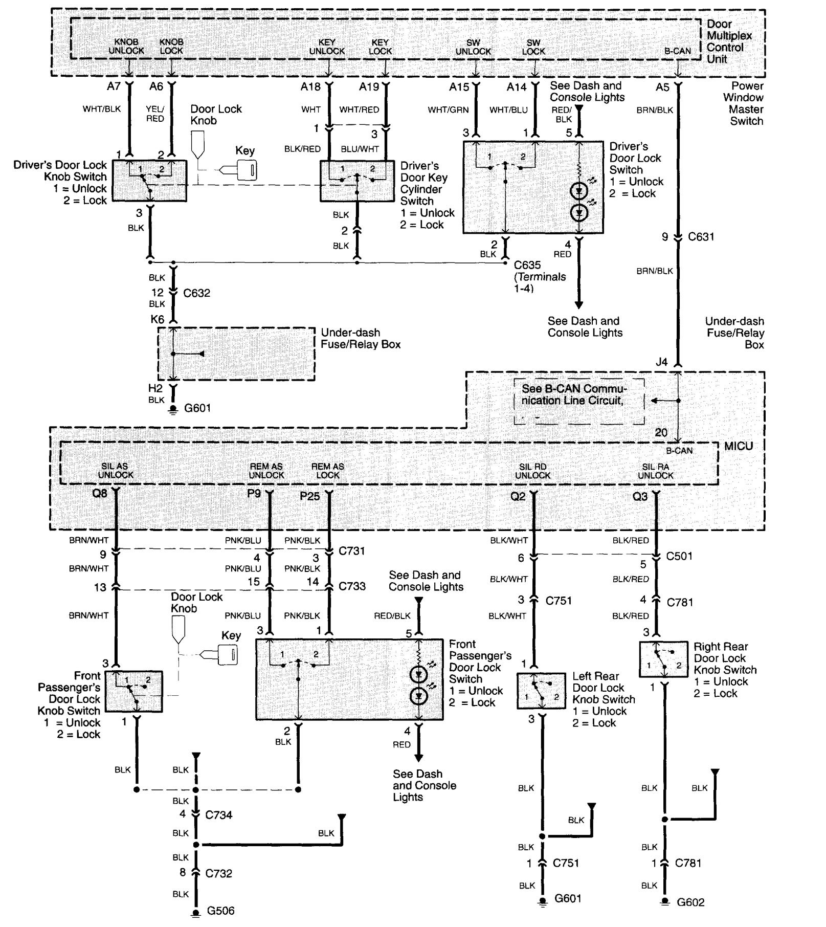 keyless entry wiring diagram ford 4 pin relay acura tl 2003 2005 diagrams