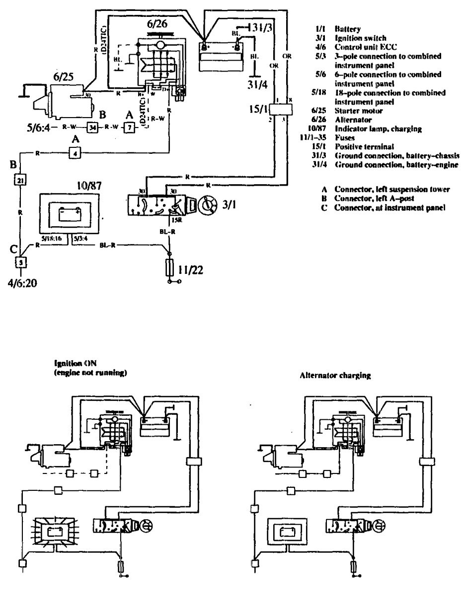 hight resolution of volvo 760 1990 wiring diagrams charging system volvo 760 wiring diagram