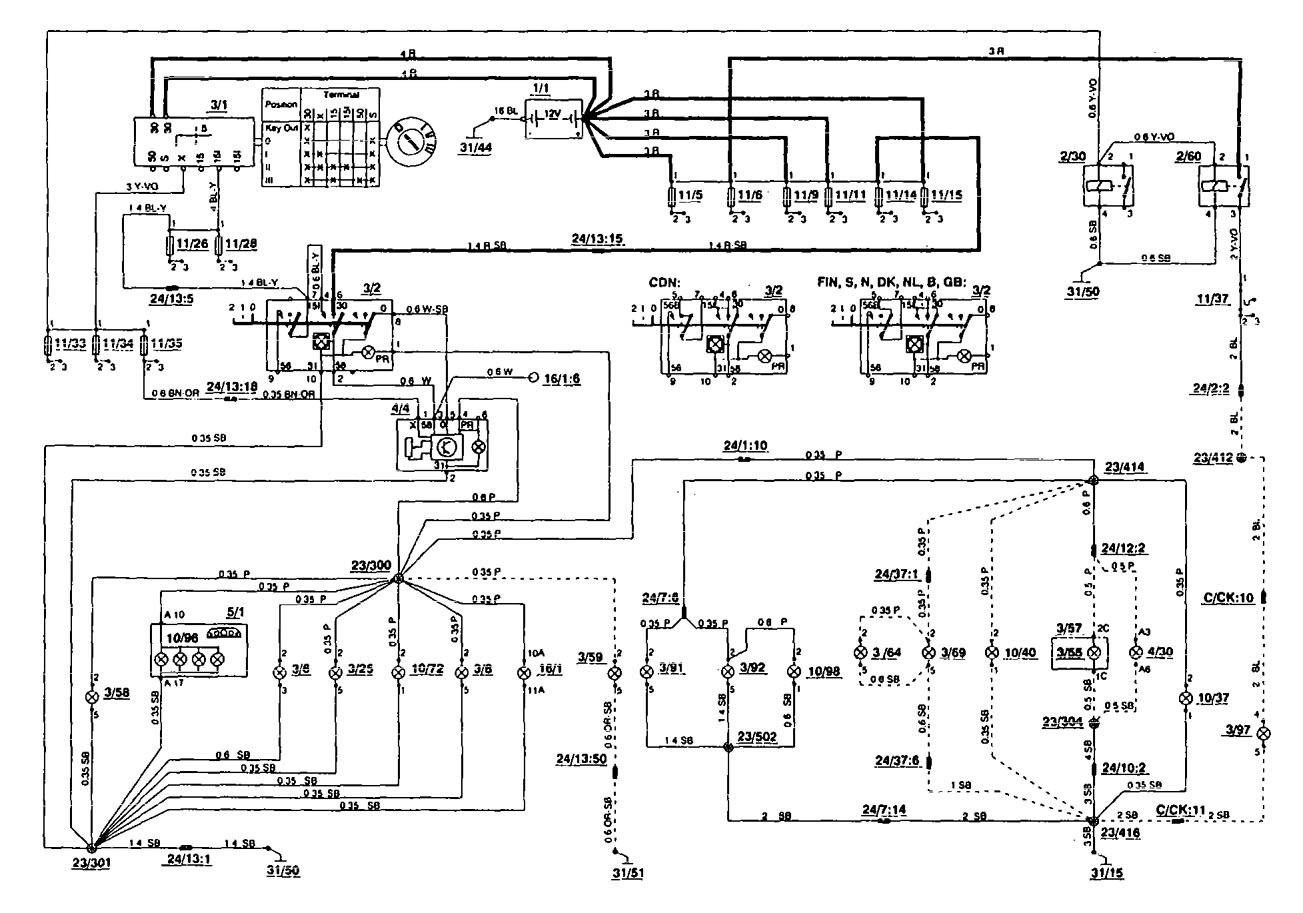 volvo wiring diagrams 850 sunvic mid position valve diagram 1994 instrument panel lamp