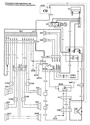 Volvo 940 (1994)  wiring diagrams  audio  CARKNOWLEDGE