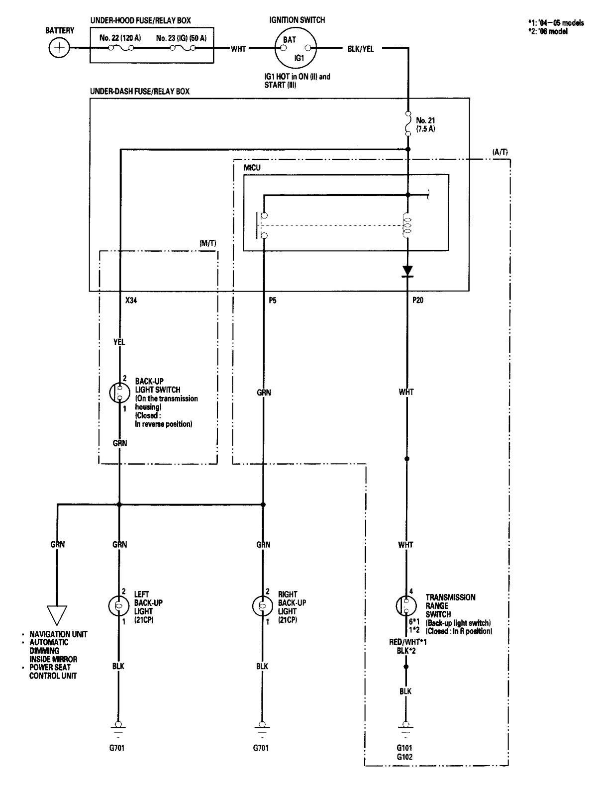car reverse light wiring diagram warehouse process flow acura tl 2006 diagrams lamps