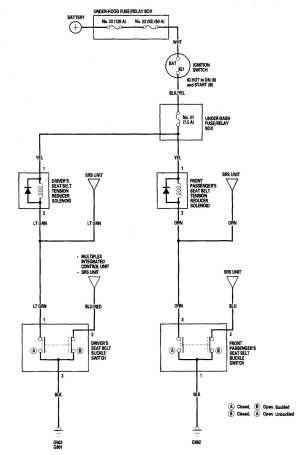 Acura TL (2006)  wiring diagrams  seat belts  CARKNOWLEDGE