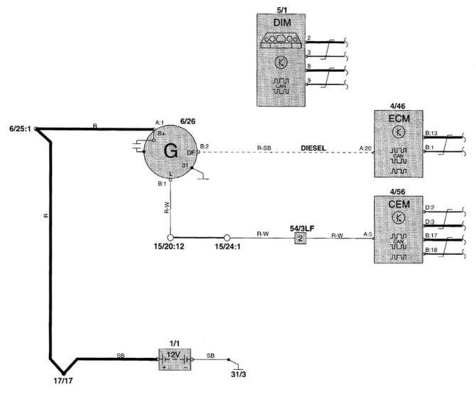 volvo v70 2001  wiring diagrams  charging system