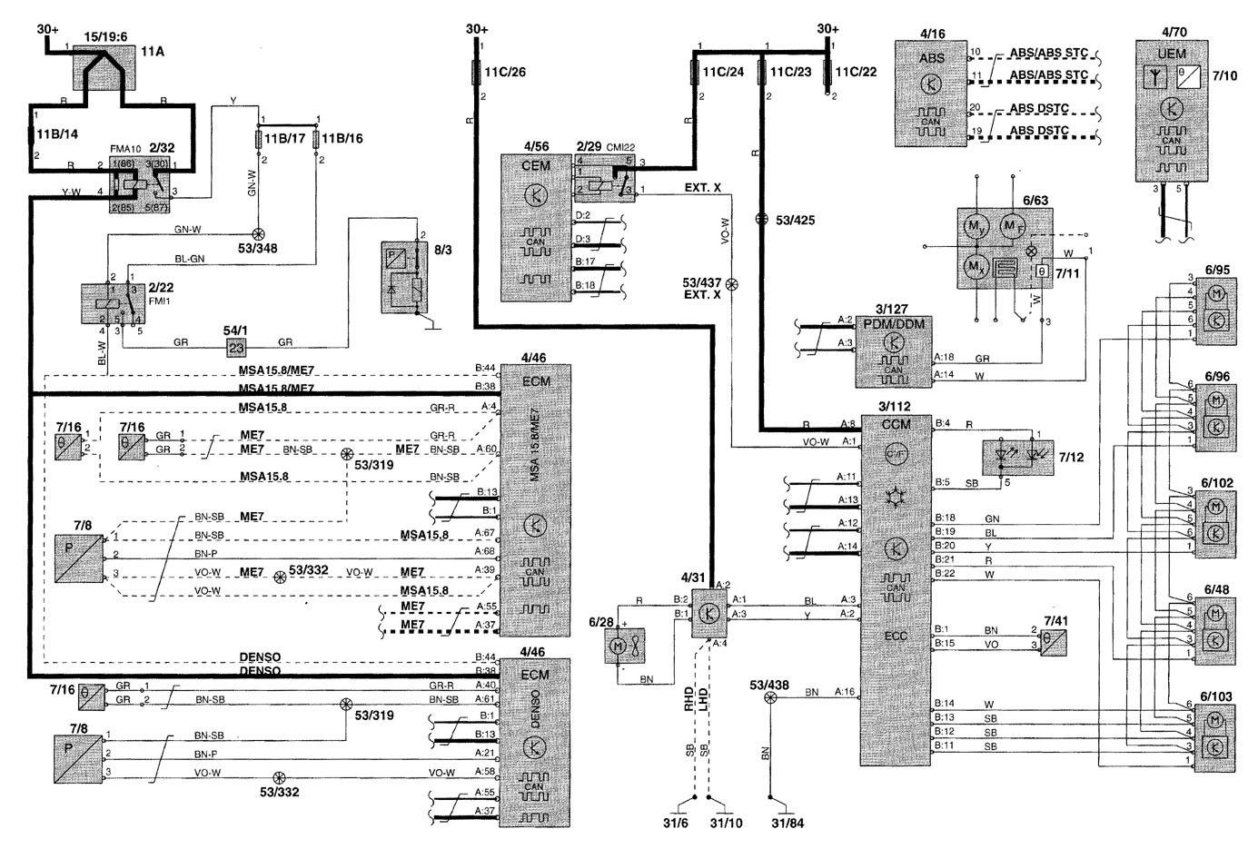 volvo v70 wiring diagram 2000 2005 jeep wrangler pcm diagrams hvac controls