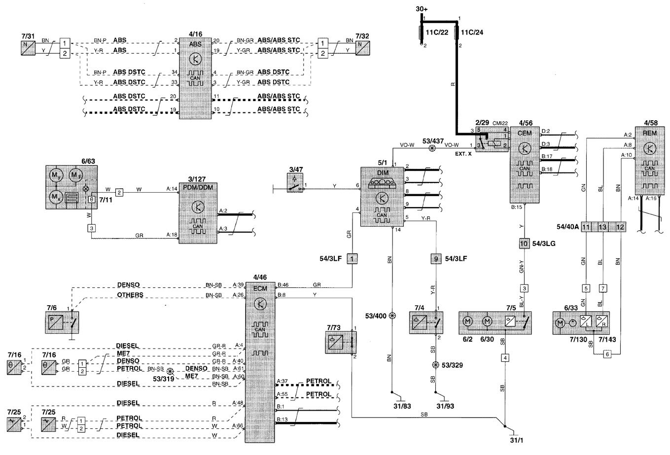 volvo v70 wiring diagram 2001 for a double light switch diagrams instrumentation