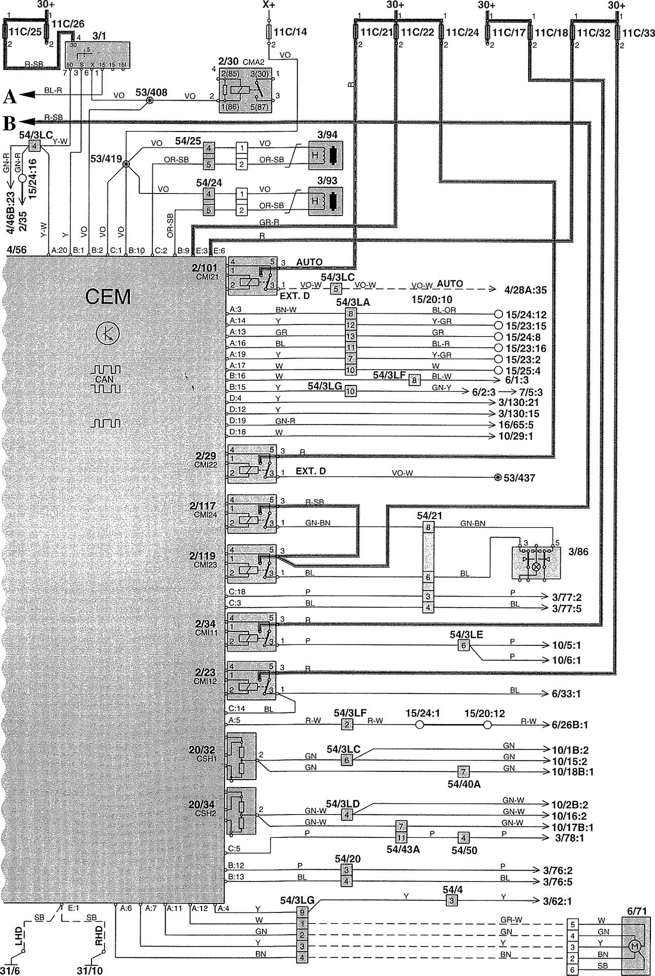 volvo wiring diagram asco 4000 v70 2002 diagrams power distribution