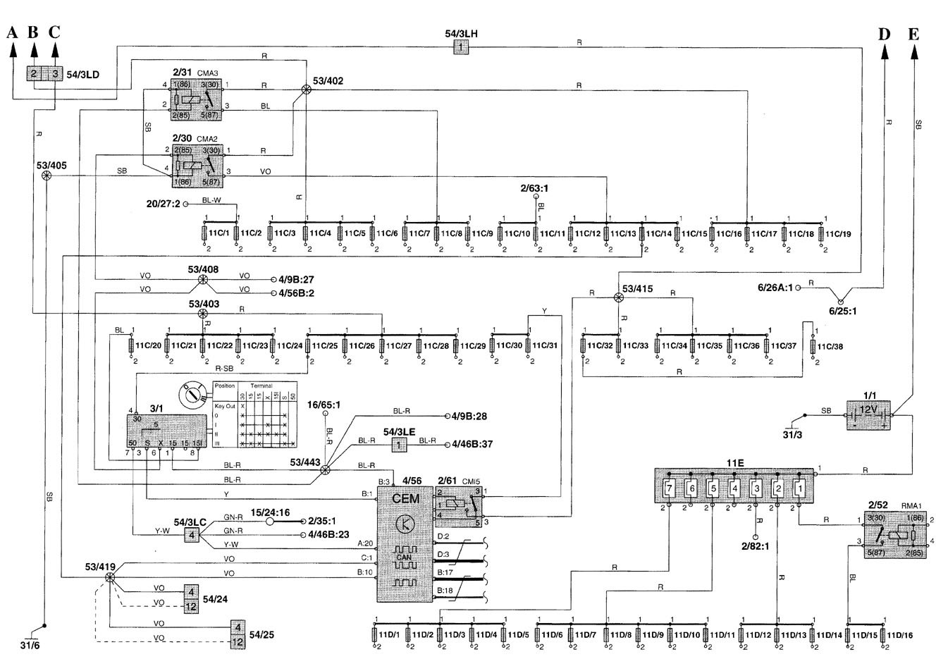 volvo v70 wiring diagram of 3 way switch 2001 diagrams power distribution
